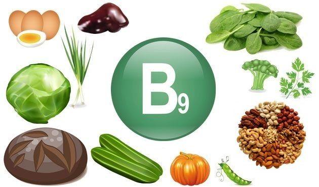 в каких продуктах витамин B9