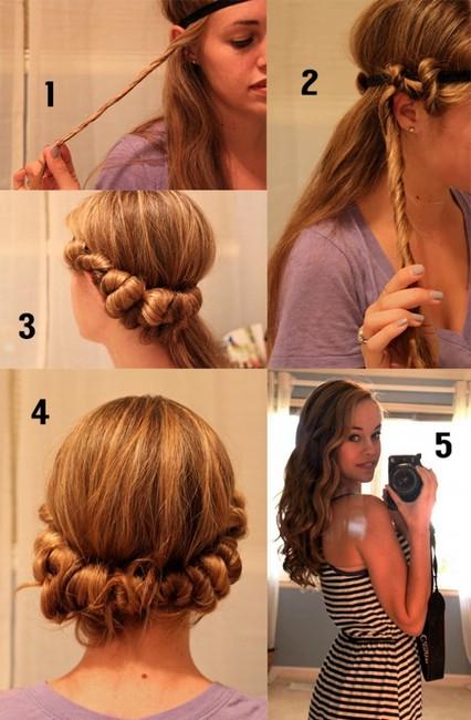 накрутить волосы на ободок