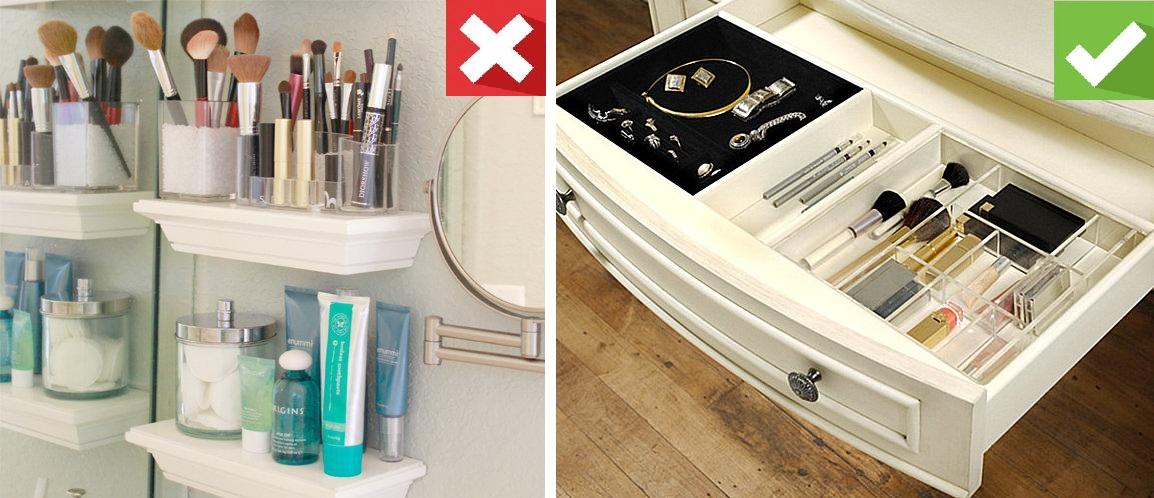 хранение косметики в ванной